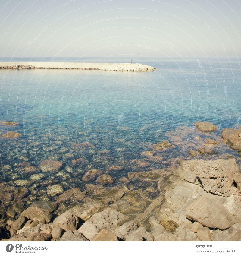 blue transparency Umwelt Natur Landschaft Urelemente Wasser Himmel Wolkenloser Himmel Horizont Sommer Schönes Wetter Wellen Küste Strand Meer Insel Sauberkeit