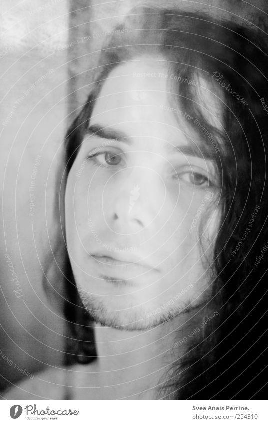 888. maskulin Junger Mann Jugendliche Haare & Frisuren Gesicht 1 Mensch 18-30 Jahre Erwachsene schwarzhaarig langhaarig Locken schön Gefühle Traurigkeit Sorge