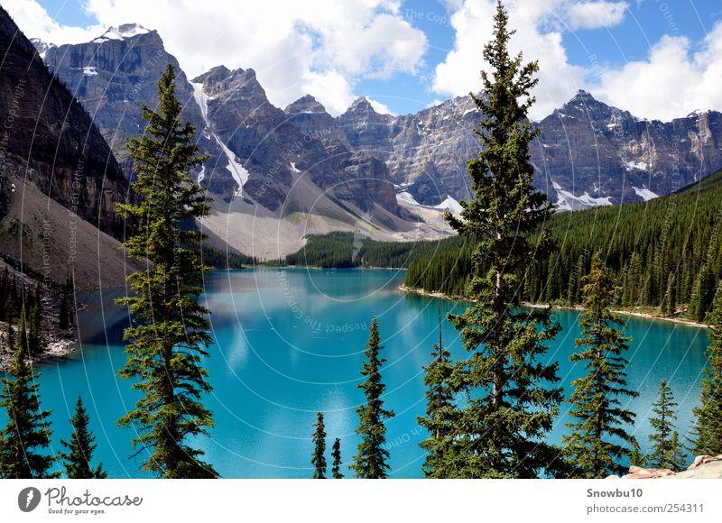Moraine Lake, Rocky Mountains Ferien & Urlaub & Reisen Tourismus Ausflug Abenteuer Ferne Freiheit Natur Landschaft Wasser Wolken Sommer Berge u. Gebirge See