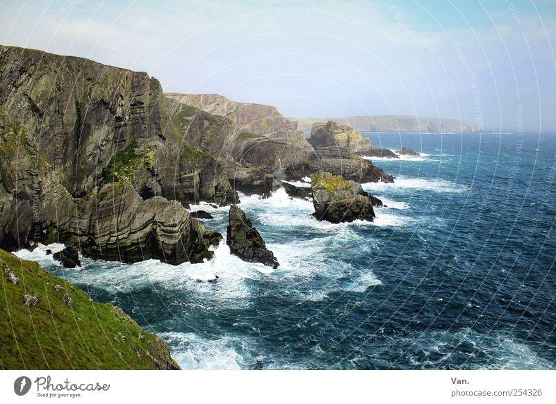 Mizen Head Ferien & Urlaub & Reisen Sommerurlaub Umwelt Natur Landschaft Erde Wasser Himmel Wolken Schönes Wetter Wind Gras Moos Felsen Wellen Küste Bucht Meer