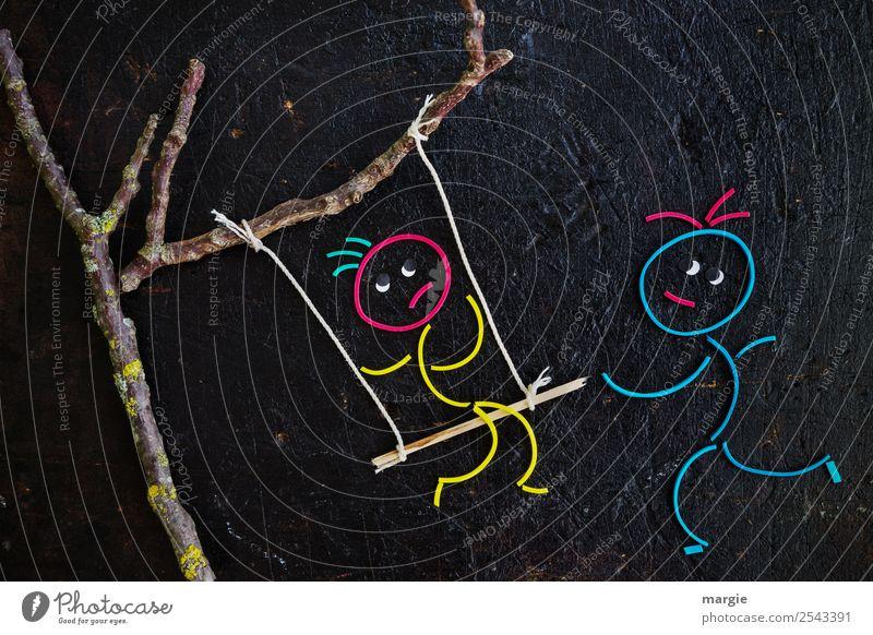 Gummiwürmer: Schaukel Kind Mensch blau Baum Mädchen schwarz gelb feminin Junge Spielen Freizeit & Hobby maskulin gefährlich Ast Seil Zweig