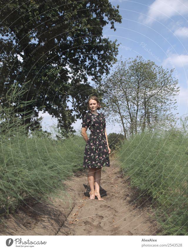 Junge Frau in Spargelfeld Jugendliche Sommer schön Landschaft Baum Freude 18-30 Jahre Erwachsene Leben Umwelt natürlich außergewöhnlich Ausflug Feld Erde