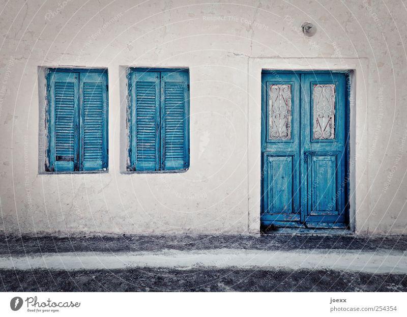 Keiner da alt blau weiß Haus Straße Fenster Wand grau Mauer Tür Idylle eckig Altstadt hell-blau Santorin