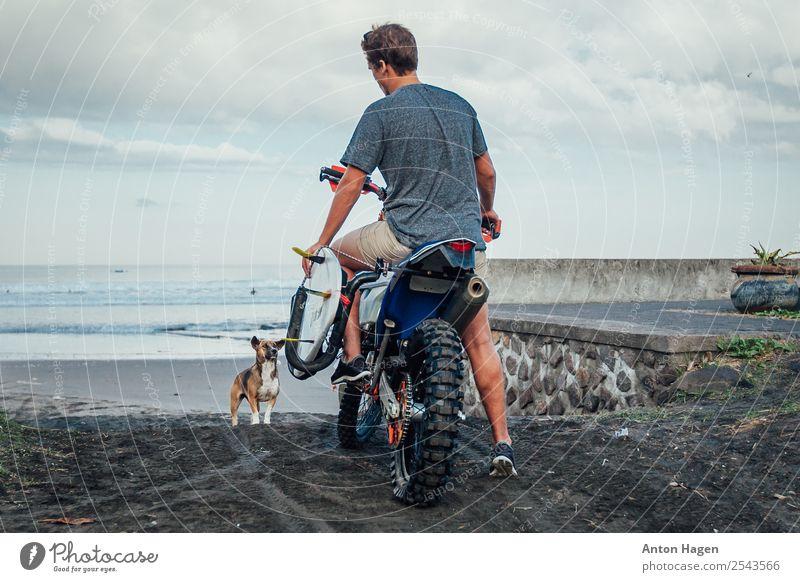 Junger Mann auf dem Motorrad mit Surfbrett am Sandstrand Lifestyle Ferien & Urlaub & Reisen Ausflug Abenteuer Freiheit Sommer Meer Wellen Sport Motorsport