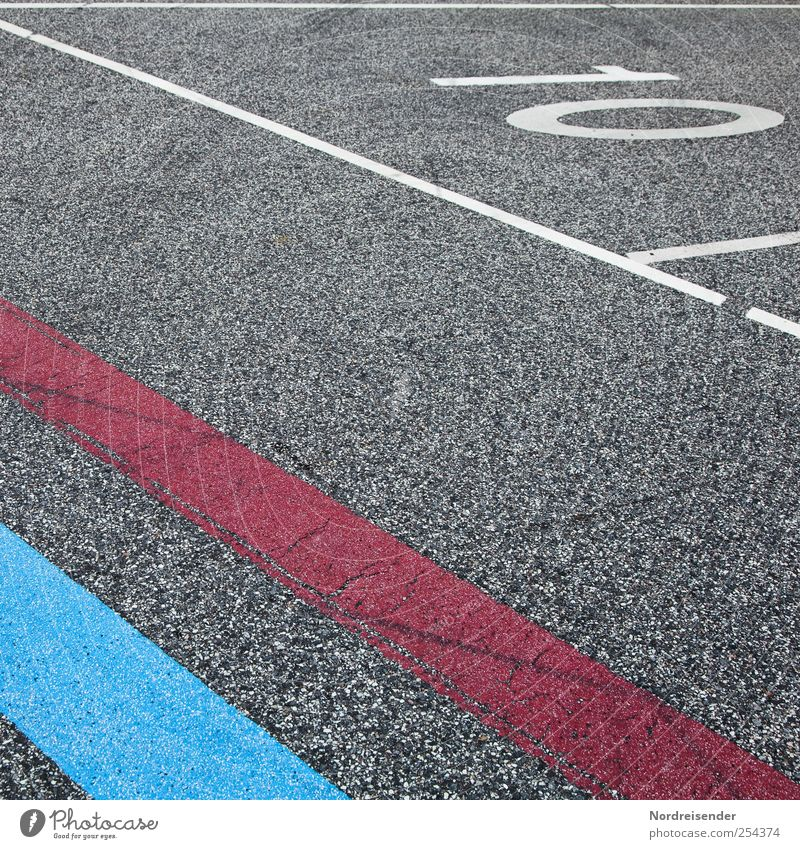 Q 10 blau rot Straße Wege & Pfade Linie Schilder & Markierungen Verkehr Streifen Ziffern & Zahlen Güterverkehr & Logistik Asphalt Zeichen Oberfläche graphisch