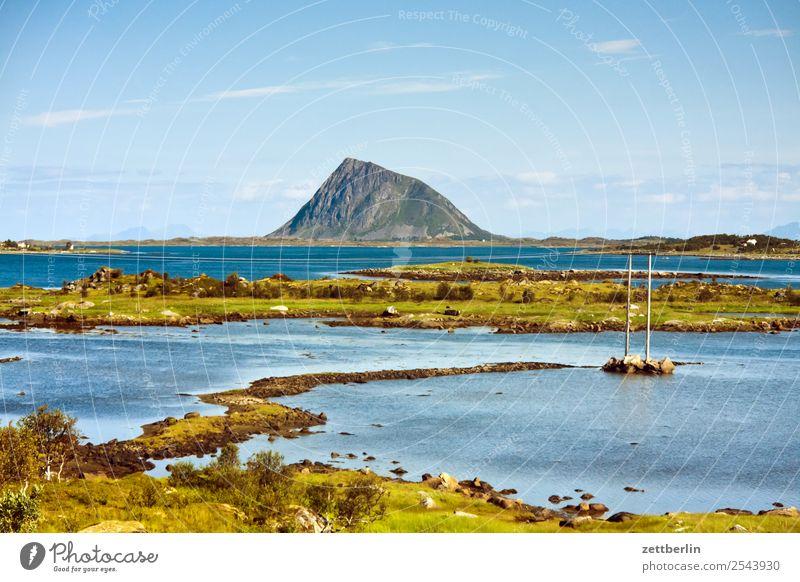 Limstrandpollen Polarmeer Europa Felsen Ferien & Urlaub & Reisen Fjord Himmel Himmel (Jenseits) Horizont Insel Landschaft maritim Meer Natur nordisch Norwegen