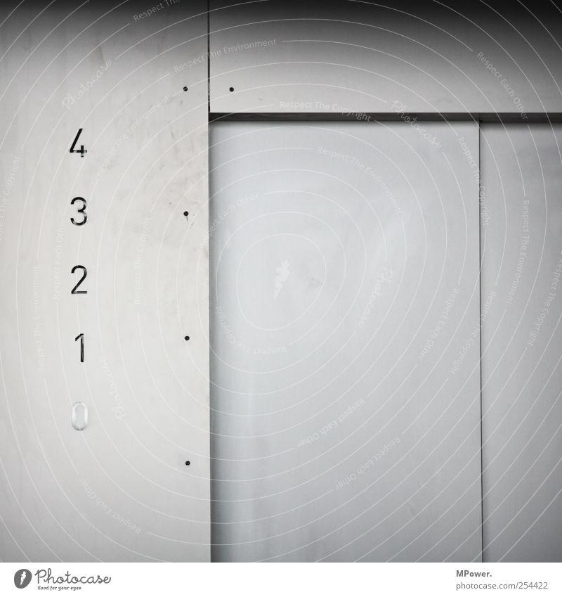 01234 Hochhaus Bankgebäude ästhetisch elegant kalt modern weiß Ziffern & Zahlen Fahrstuhl Tür Beton Personenverkehr Etage Schraube Schiebetür Gedeckte Farben