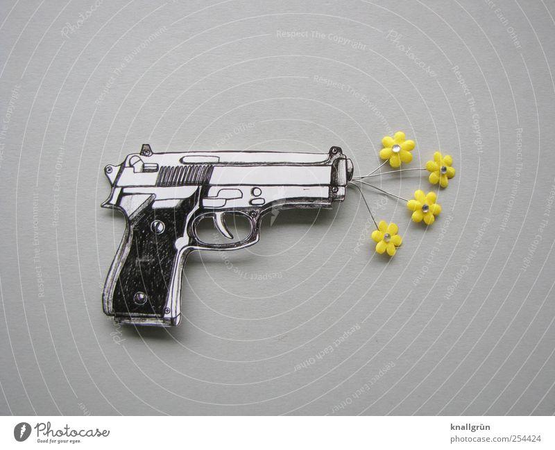 Sag's durch die Blume! Pistole Blühend bedrohlich gelb grau schwarz weiß Gefühle Coolness Optimismus bizarr Freude Idee Kreativität Rettung skurril Überraschung