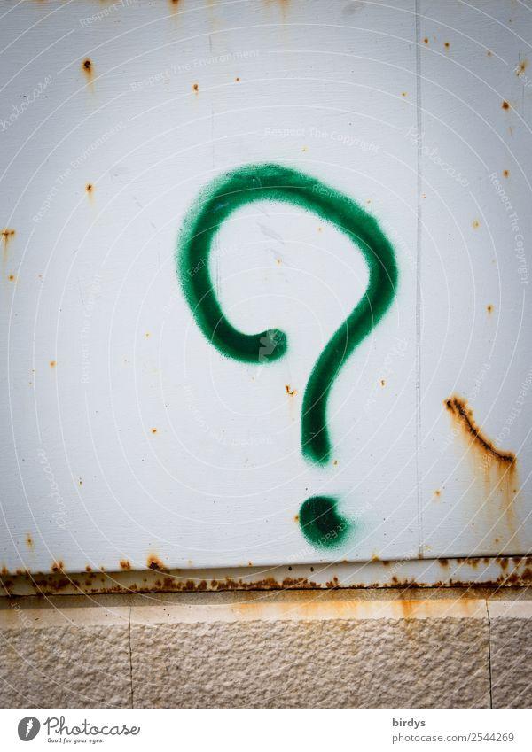 Wie? Wo? Was? Warum? Zeichen Graffiti Fragezeichen authentisch gelb grau grün Gerechtigkeit Schmerz Verzweiflung Unglaube Wut Enttäuschung