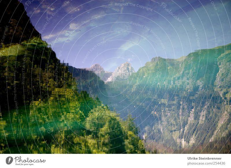 Watermountain Himmel Natur Wasser Baum Pflanze Ferien & Urlaub & Reisen Sommer Einsamkeit Wald Umwelt Landschaft Berge u. Gebirge Luft See Felsen Tourismus
