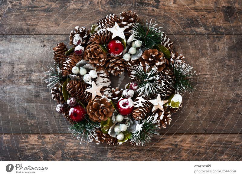 Weihnachten & Advent grün Winter Feste & Feiern Dekoration & Verzierung Jahreszeiten Tradition Kiefer Saison Ornament Dezember Kranz Girlande