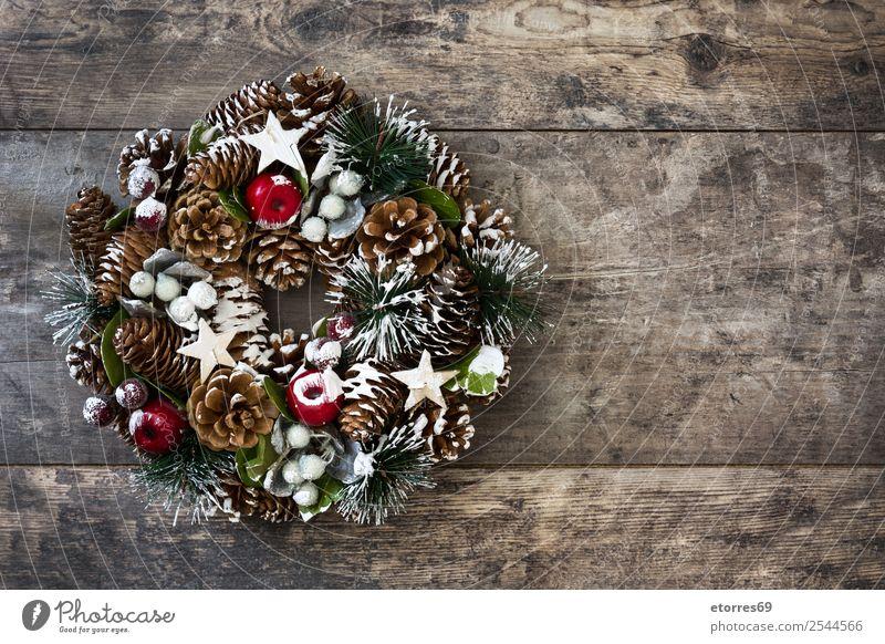 Weihnachtskranz Winter Dekoration & Verzierung Feste & Feiern Weihnachten & Advent Ornament grün Tradition Kranz Dezember Girlande Kiefer Rust Jahreszeiten