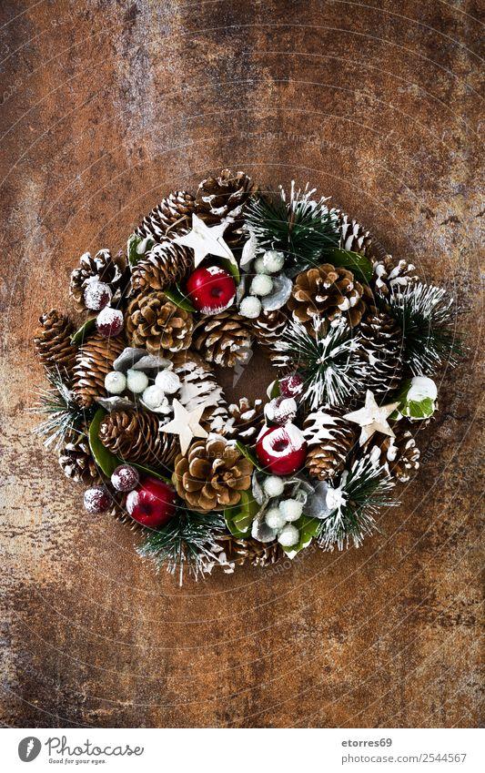 Weihnachtskranz Weihnachten & Advent Kranz Grabkränze Dekoration & Verzierung Feste & Feiern Dezember Tradition Girlande Kiefer Hintergrund neutral Rost grün