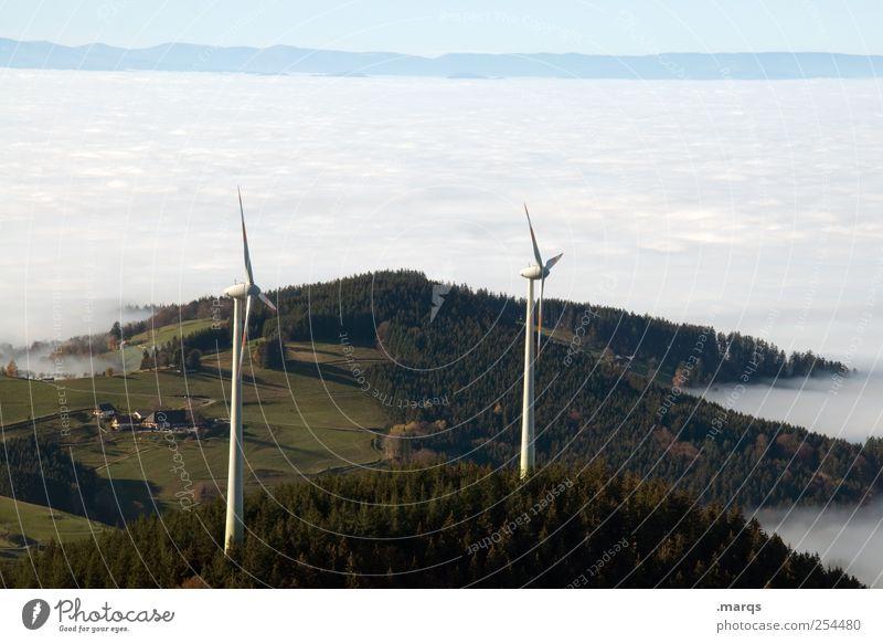 Windkraft Energiewirtschaft Fortschritt Zukunft Erneuerbare Energie Windkraftanlage Windrad Umwelt Natur Landschaft Urelemente Himmel Wolken Nebel Wald Hügel