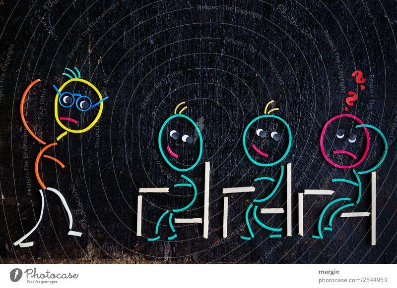 Komplex | Was wir alles lernen müssen! Schule Klassenraum Schulkind Schüler Lehrer Beruf maskulin feminin androgyn Kind Mann Erwachsene 4 Mensch Zeichen grün