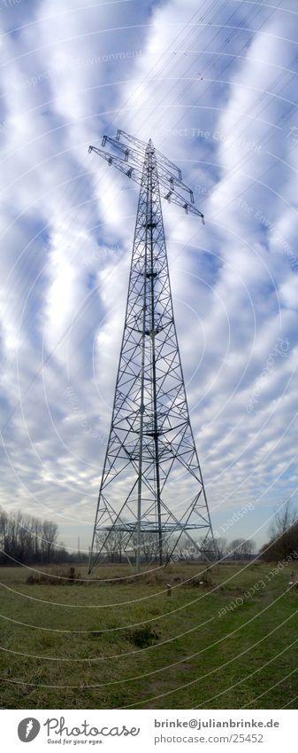 Stormmast Panorama (Aussicht) Elektrizität Wiese grün weiß Wolken Krefeld Industrie Strommast Rhein blau julian brinke Meerschweinchen groß