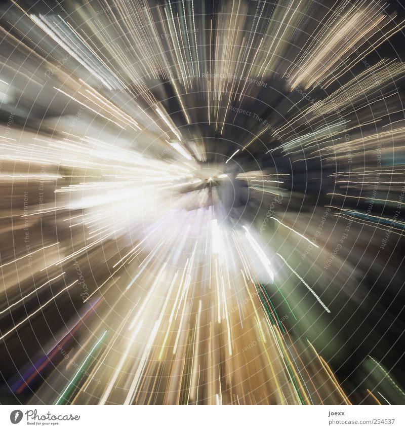 Zeitsprung weiß grün schwarz gelb Bewegung träumen Energie wild Geschwindigkeit Zukunft Show Unendlichkeit Kreativität Weltall Entertainment Euphorie