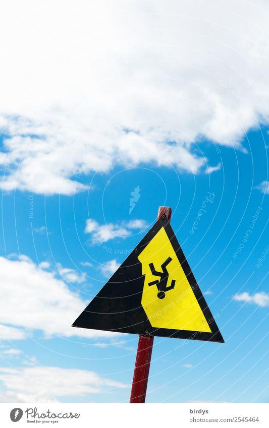 Krimi | Aus allen Wolken fallen 1 Mensch Himmel Schönes Wetter Zeichen Hinweisschild Warnschild außergewöhnlich bedrohlich hoch oben blau gelb schwarz weiß