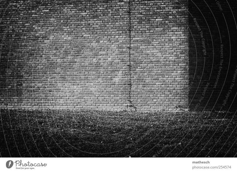 heimkehr alt weiß schwarz Haus Wiese Wand Gras Mauer Gebäude Ecke Häusliches Leben Graswiese Blitzableiter