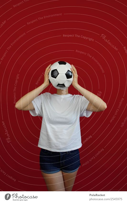 #A# WM-Gesicht 1 Mensch ästhetisch Fußball Tischfußball Fußballplatz Fußballtraining Frau Weltmeisterschaft Sport Kreativität Farbfoto mehrfarbig Innenaufnahme