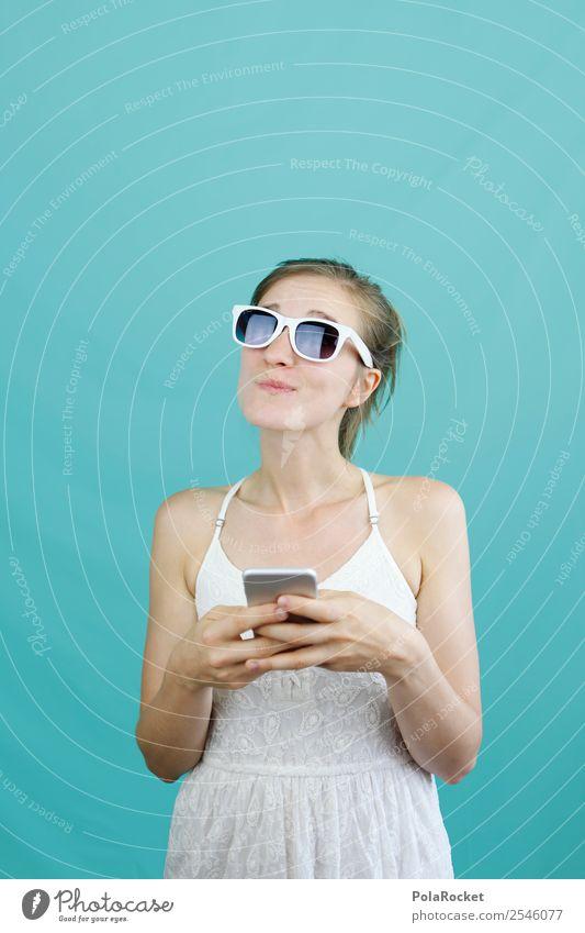 #A# mobile Frage Kunst Kunstwerk ästhetisch Model Modellfigur Frau Telekommunikation kommunikativ Kommunikationsmittel Denken nachdenklich Kontrolle Tippen