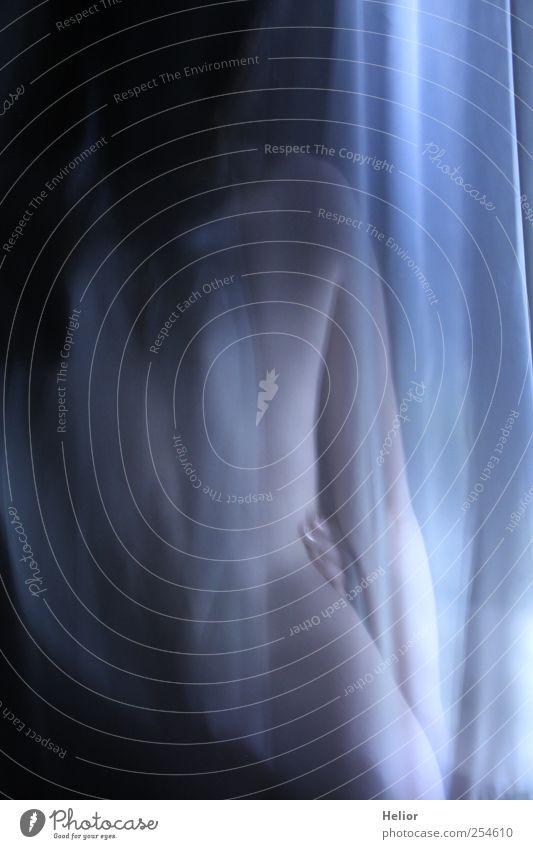 Verdeckte Schönheit 1 feminin Rücken Mensch berühren stehen ästhetisch Erotik nackt dünn schön blau schwarz weiß Begierde geheimnisvoll Leidenschaft Lust