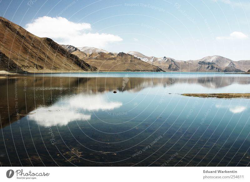 Wasserspiegel Umwelt Natur Pflanze Luft Himmel Wolken Schönes Wetter Hügel Felsen Berge u. Gebirge Gipfel Seeufer Indien Nepal Himalaya Spiegelbild blau