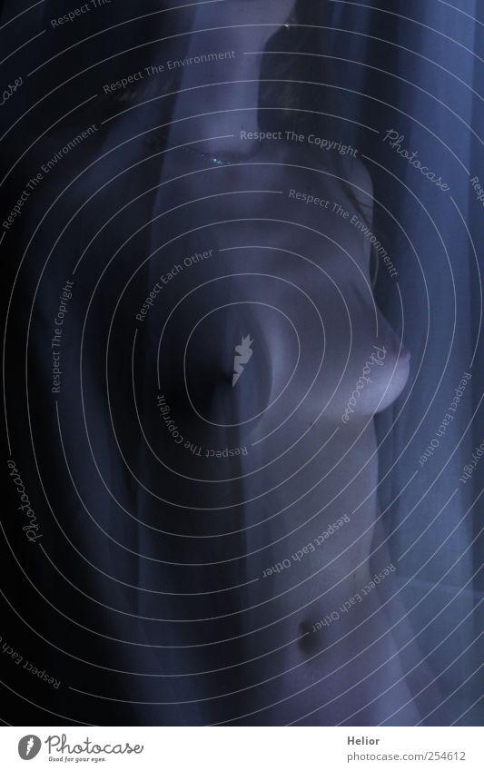 Verdeckte Schönheit 2 Mensch Jugendliche blau schön schwarz Erwachsene feminin Erotik nackt Junge Frau grau 18-30 Jahre stehen ästhetisch Frauenbrust geheimnisvoll