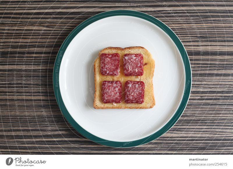 salami toast weiß grün Ernährung braun ästhetisch Tisch Sauberkeit Frühstück Teller Brot Fleisch Backwaren Teigwaren Wurstwaren Ordnungsliebe