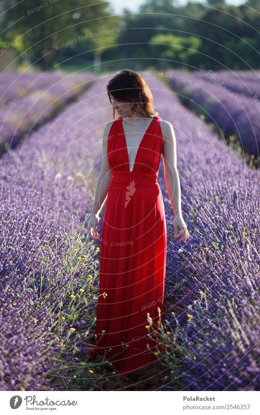 #A# The French Girl feminin 1 Mensch ästhetisch verträumt träumen traumhaft Traumwelt Idylle Frau friedlich rot Kleid Landschaft Blühend Blühende Landschaften