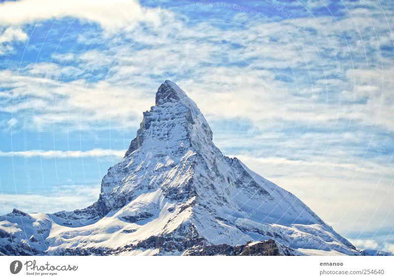 Matterhörnli Himmel Ferien & Urlaub & Reisen blau Landschaft Ferne Winter Berge u. Gebirge Schnee Felsen Wetter Eis hoch Spitze Klima Gipfel Frost