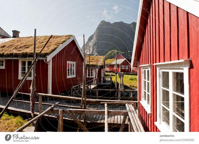 Rorbuer in Reine falunrot Fischereiwirtschaft Fischereihafen Fischerhütte maritim Natur Norwegen Reisefotografie Schweden Skandinavien Hütte Ferienwohnung