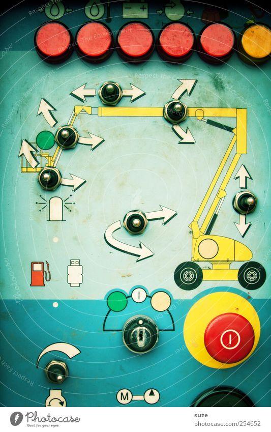 Men's only! Maschine Baumaschine Technik & Technologie Zeichen Schilder & Markierungen Hinweisschild Warnschild Linie Pfeil alt lustig Schalter Drehregler Gerät
