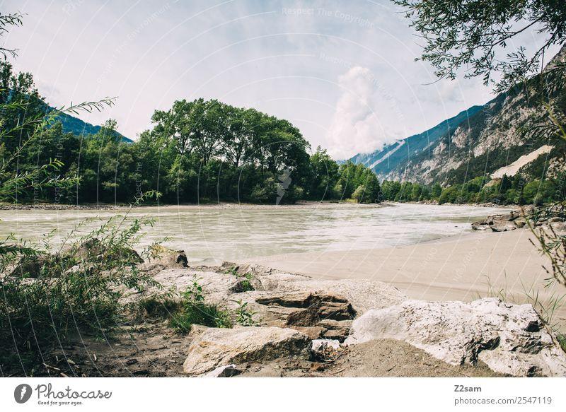 Inn wandern Umwelt Natur Landschaft Himmel Wolken Sommer Schönes Wetter Flussufer nachhaltig natürlich Idylle Perspektive ruhig Umweltschutz Bundesland Tirol