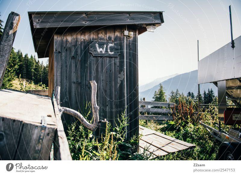 FREILUFT WC Natur Ferien & Urlaub & Reisen Sommer grün Landschaft ruhig Berge u. Gebirge Umwelt Holz natürlich braun Häusliches Leben wandern Abenteuer