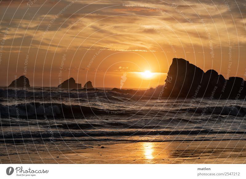 Sommerabend Himmel Natur blau Landschaft Meer Wolken Strand Küste orange braun Felsen Horizont gold Wellen glänzend