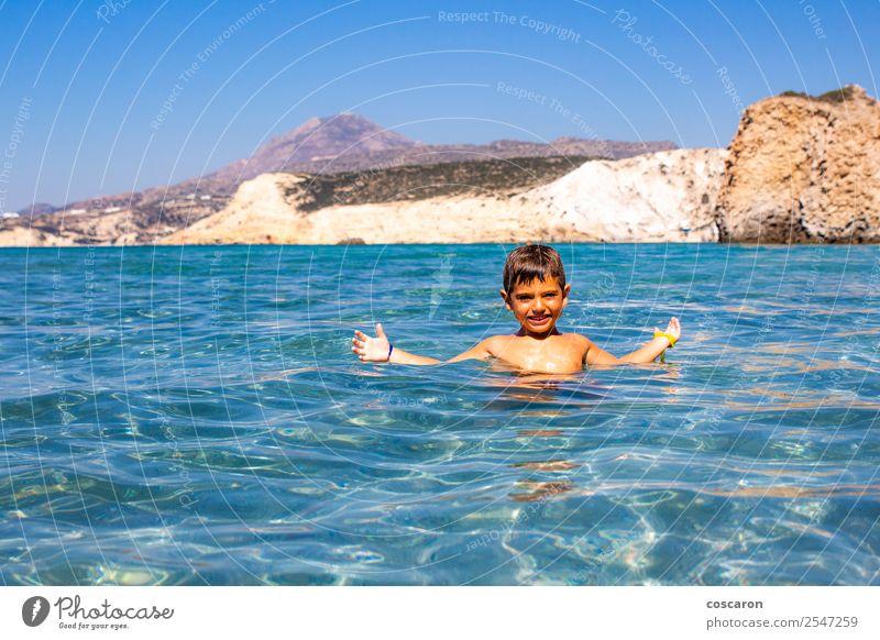 Kind Mensch Himmel Natur Ferien & Urlaub & Reisen Jugendliche Sommer blau schön Wasser weiß Meer Erholung Einsamkeit Freude Strand