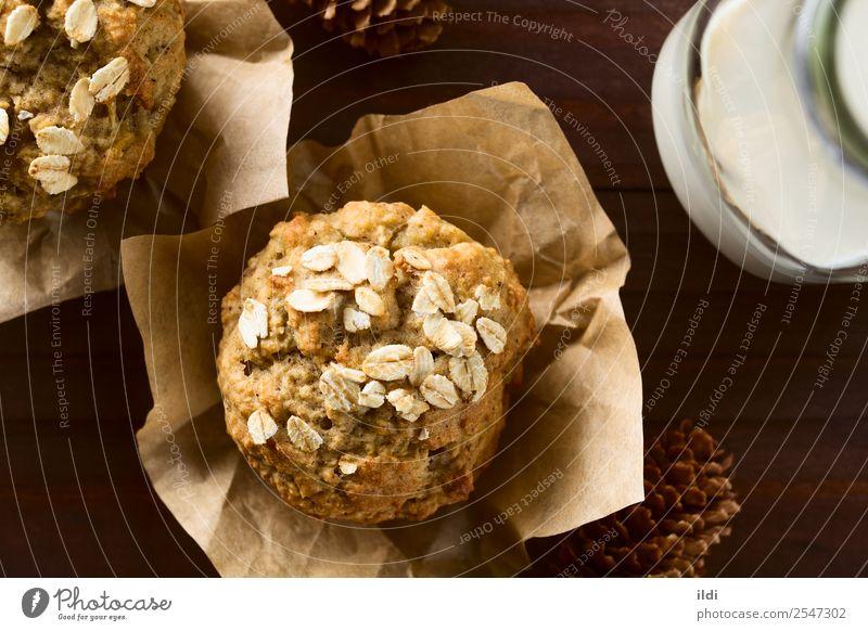 Apfel-Haferflocken-Muffin Brot Frühstück frisch Lebensmittel backen Korn Müsli gebastelt Backwaren Kuchen süß Snack Gesundheit saisonbedingt fallen Amerikaner