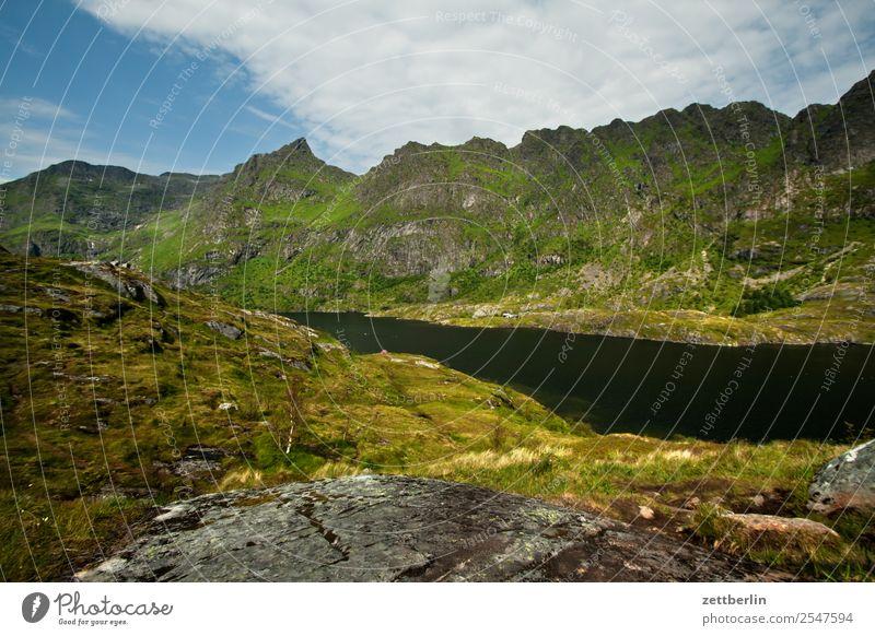 Munkebu Lofoten Felsen Ferien & Urlaub & Reisen Fjord Himmel Himmel (Jenseits) Horizont Insel Landschaft maritim Meer Natur Norwegen Reisefotografie