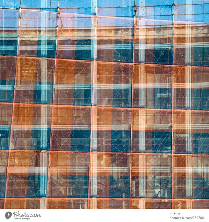 Gerüst Stil Bauwerk Baugerüst trendy einzigartig blau rot chaotisch Perspektive planen Surrealismus Raster kariert Hintergrundbild Doppelbelichtung Farbfoto