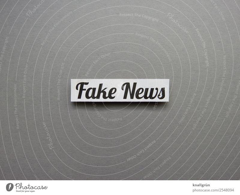 Fake News Schriftzeichen Schilder & Markierungen Kommunizieren grau schwarz weiß Gefühle Stimmung Verantwortung Wahrheit Ehrlichkeit authentisch gefährlich