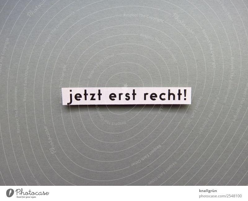 jetzt erst recht! Schriftzeichen Schilder & Markierungen Kommunizieren grau schwarz weiß Gefühle Optimismus Willensstärke Mut Ausdauer standhaft Neugier