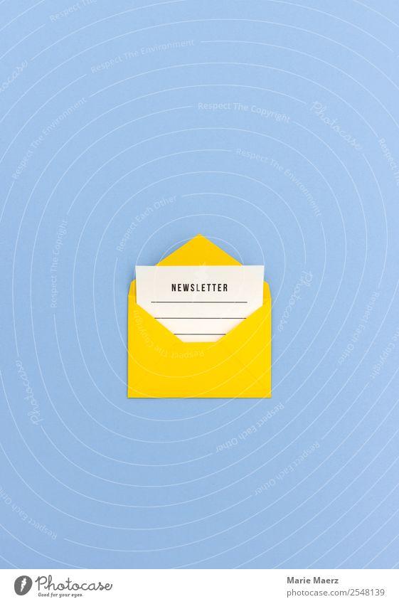 E-Mail Newsletter blau gelb sprechen Business modern Kommunizieren ästhetisch Idee Papier Freundlichkeit Neugier planen Information schreiben Werbebranche