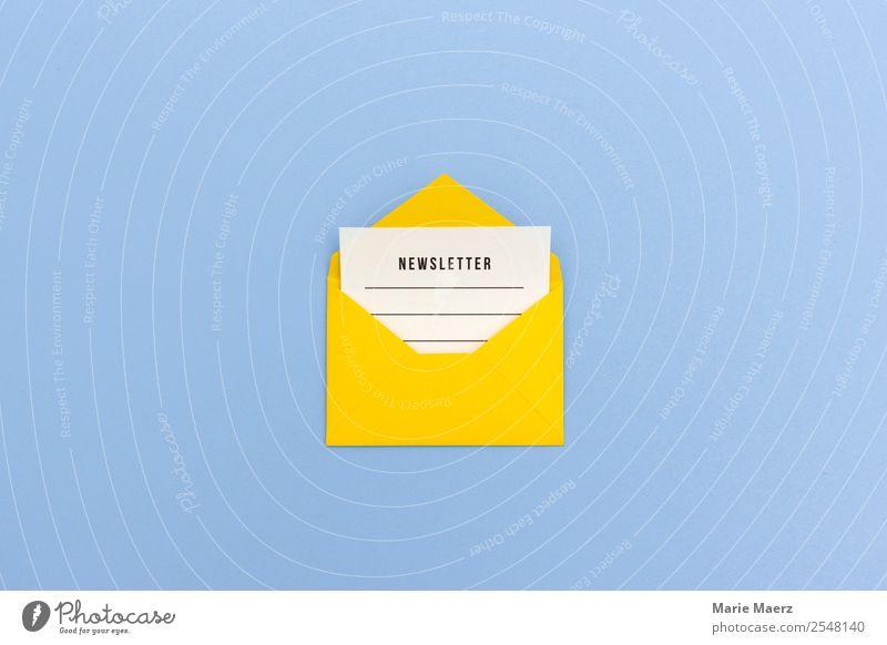 Newsletter - Briefumschlag mit Nachricht blau gelb Kommunizieren Idee Neugier lesen Information neu schreiben Netzwerk Internet Werbung Werbebranche Inspiration