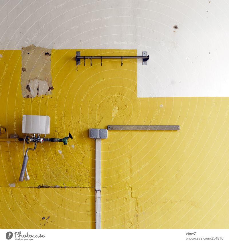 ‾│_ alt Einsamkeit gelb Wand Mauer Stein Linie Ordnung Innenarchitektur planen authentisch Kabel Wandel & Veränderung Streifen Häusliches Leben einzigartig