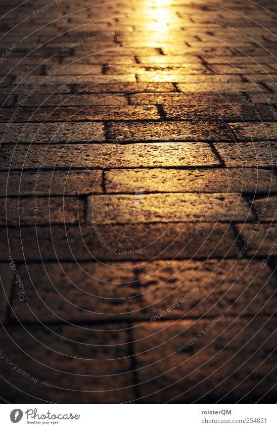 Auf goldenen Pfaden. alt Sonne Einsamkeit ruhig Wärme Straße Wege & Pfade Idylle Perspektive leer ästhetisch Zukunft Hoffnung historisch Stadtzentrum