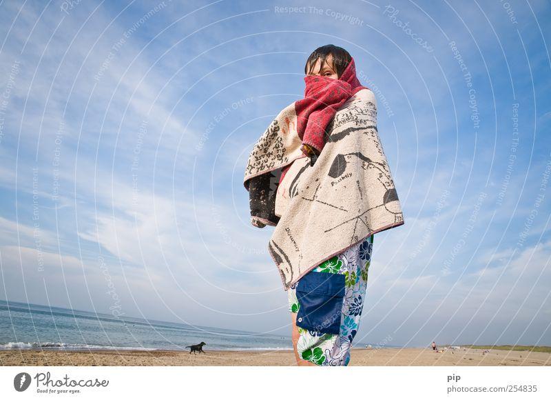 warmduscher Mensch Kind Himmel Sommer Meer Strand Wolken Ferne Auge kalt Junge Kopf Haare & Frisuren Sand Küste Kindheit