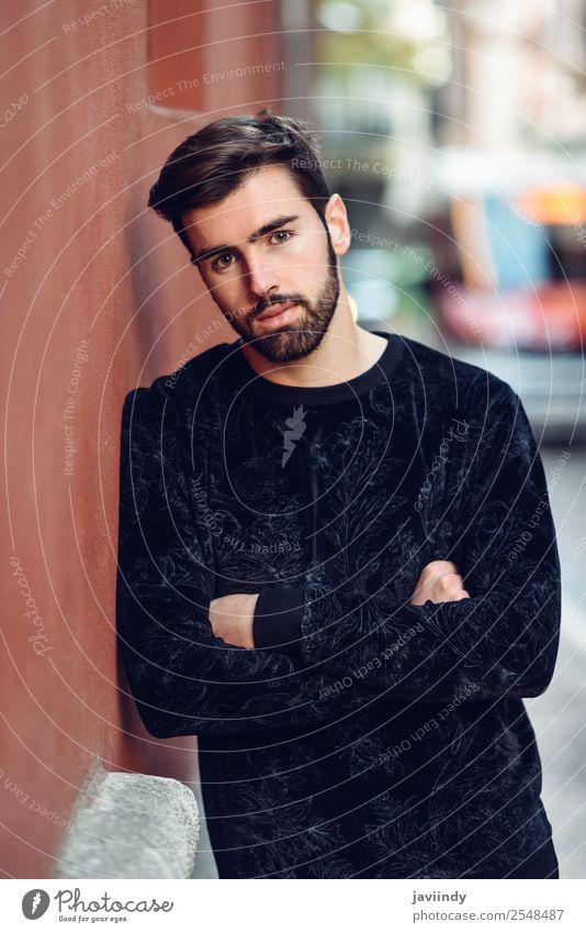 Mensch Jugendliche Mann schön Junger Mann weiß 18-30 Jahre Straße Lifestyle Erwachsene Herbst Stil Mode Haare & Frisuren maskulin modern
