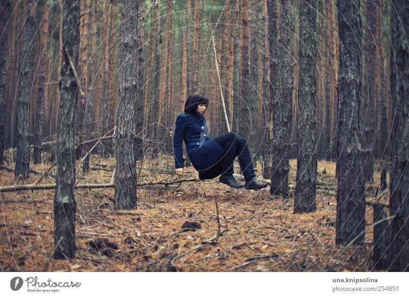 sprachschatten feminin Junge Frau Jugendliche Erwachsene 1 Mensch 18-30 Jahre Umwelt Natur Herbst schlechtes Wetter Baum Blatt Wald Mode Mantel Erholung fliegen