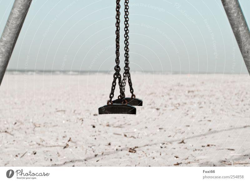 Spiekeroog * Strandschaukel* Ferien & Urlaub & Reisen Tourismus Ferne Sonne Meer Insel Wellen schaukeln Sand Wolkenloser Himmel Küste Nordsee Metall Stahl
